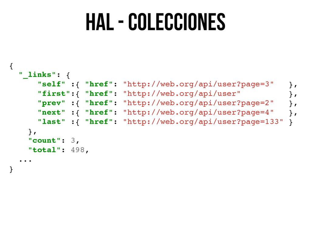 """HAL - colecciones { """"_links"""": { """"self"""" :{ """"href..."""