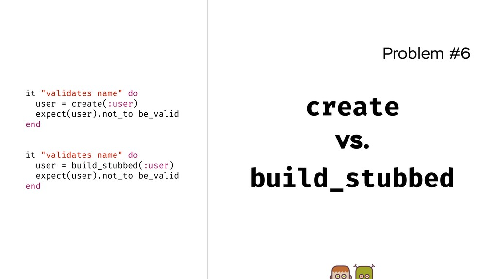 "Problem #6 create vs. build_stubbed it ""validat..."