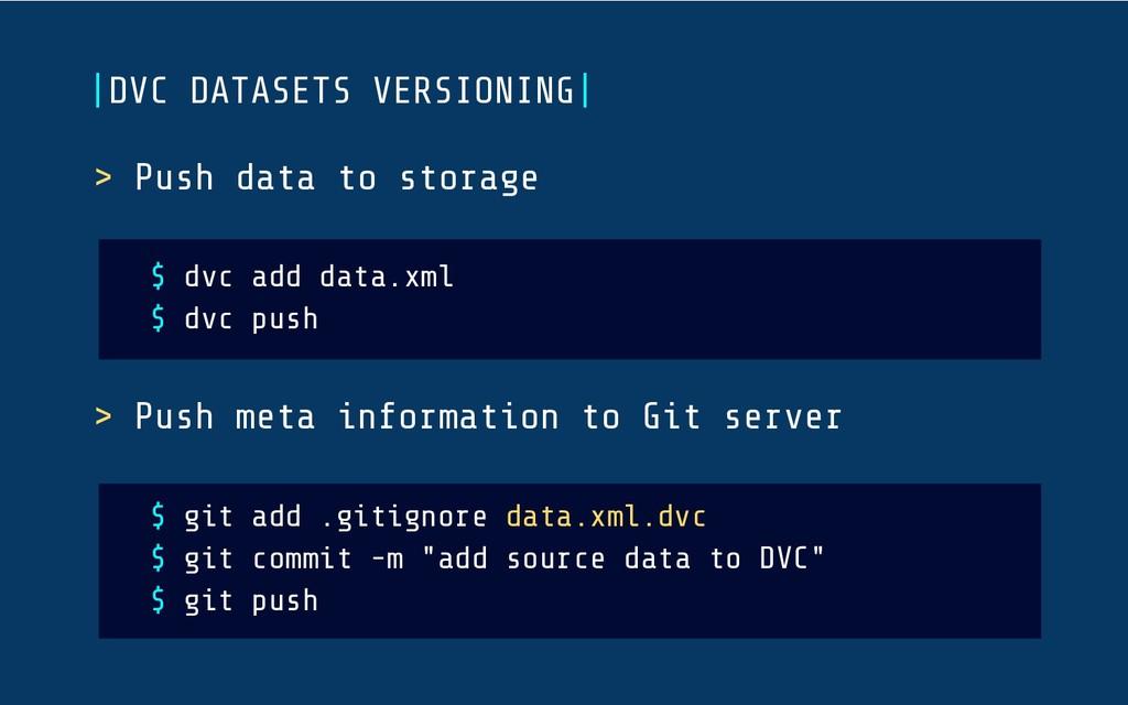  DVC DATASETS VERSIONING  > Push data to storag...
