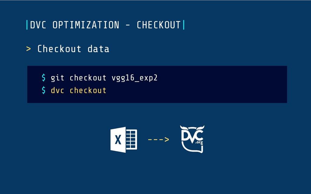 > Checkout data $ git checkout vgg16_exp2 $ dvc...