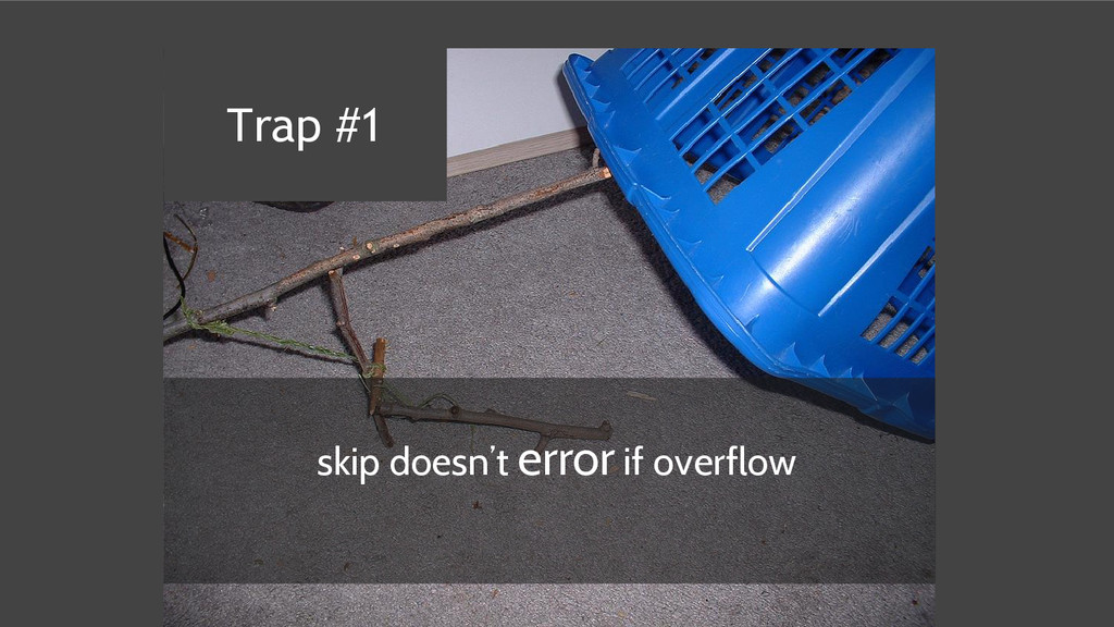 skip doesn't error if overflow Trap #1