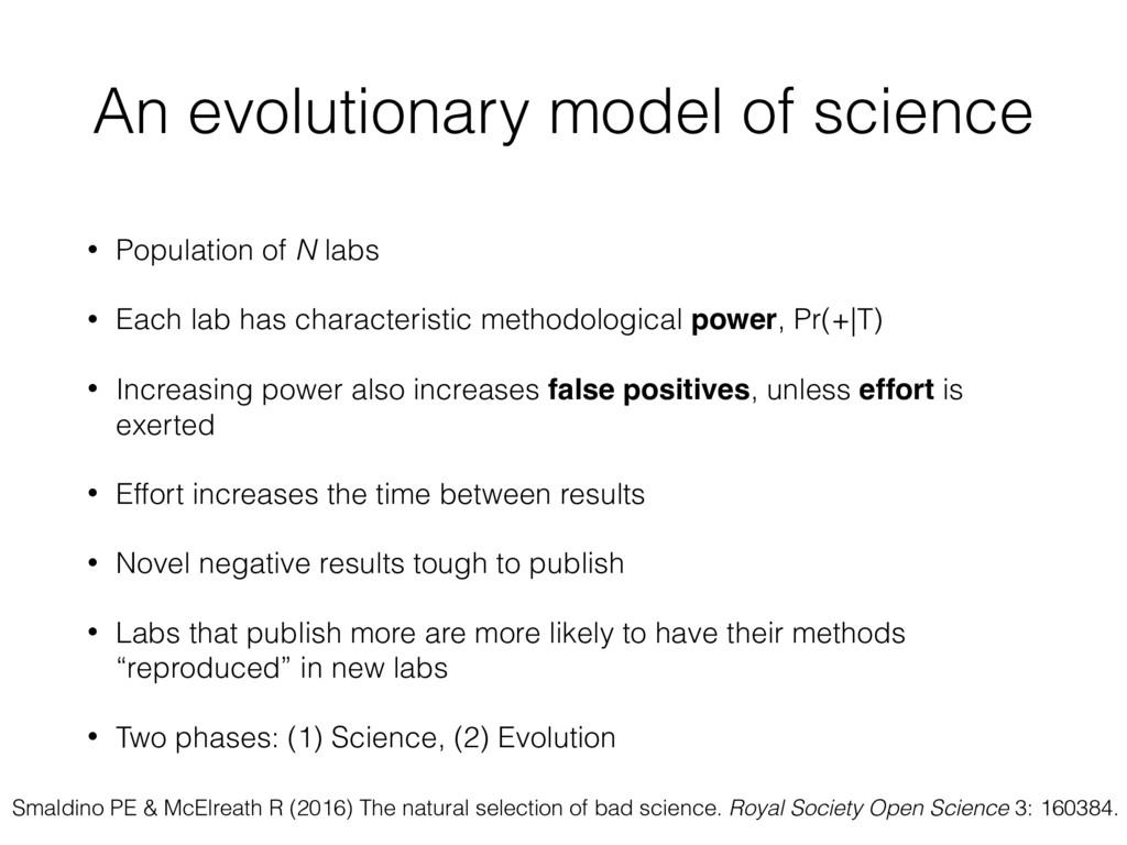An evolutionary model of science • Population o...