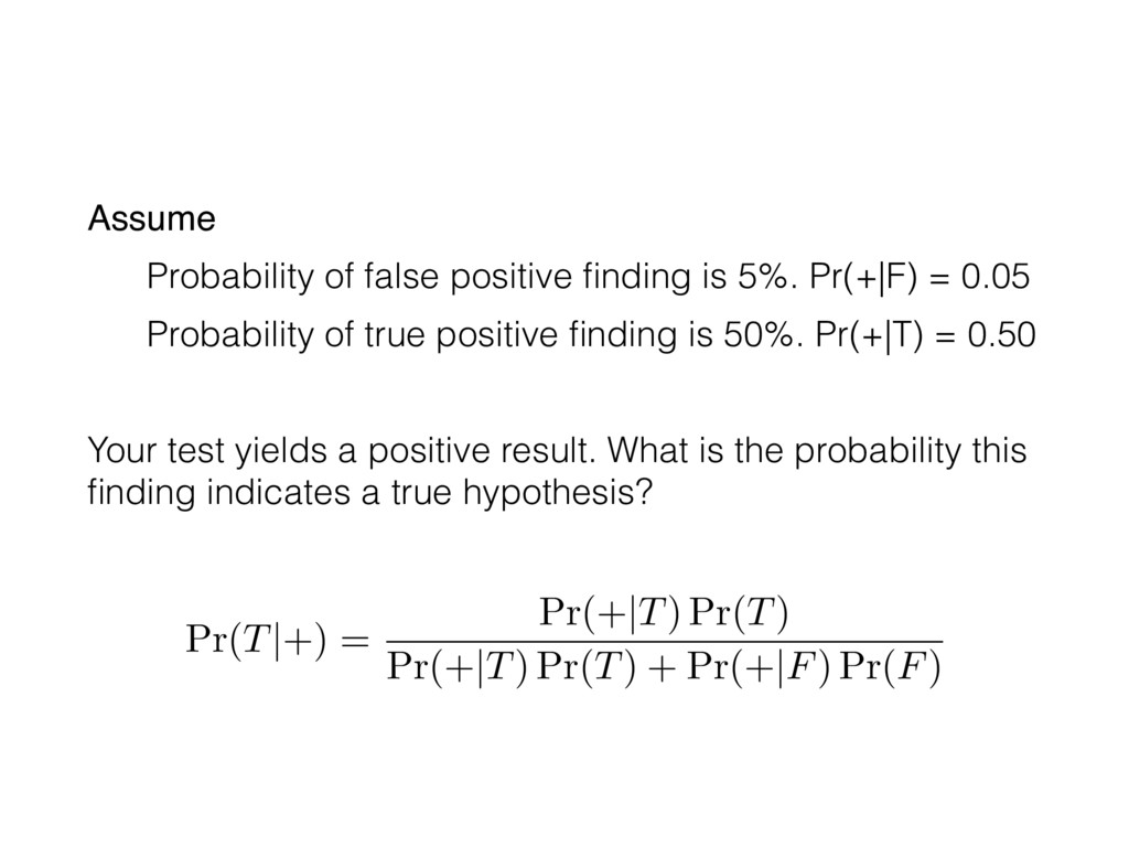 Pr(T|+) = Pr(+|T) Pr(T) Pr(+|T) Pr(T) + Pr(+|F)...