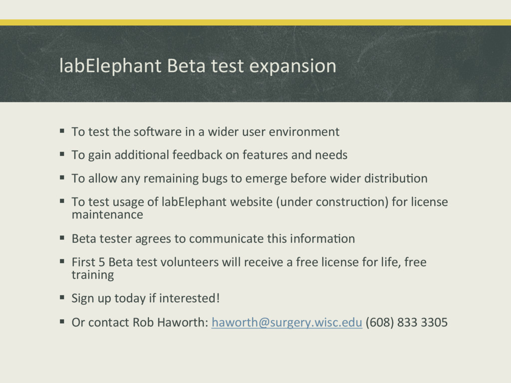 labElephant'Beta'test'expansion' ! To'test'the...