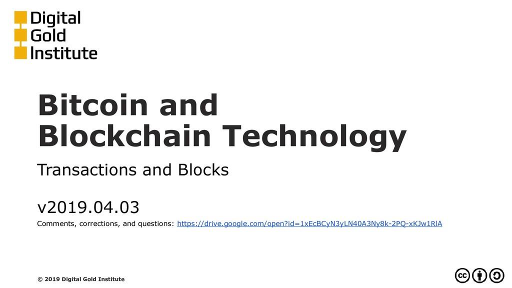 Bitcoin and Blockchain Technology Transactions ...