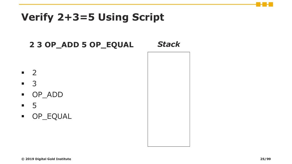 Verify 2+3=5 Using Script 2 3 OP_ADD 5 OP_EQUAL...