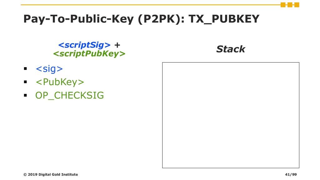 Pay-To-Public-Key (P2PK): TX_PUBKEY ▪ <sig> ▪ <...