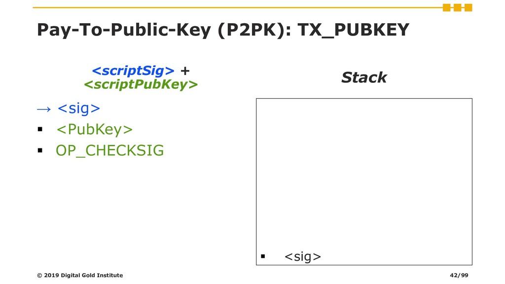 Pay-To-Public-Key (P2PK): TX_PUBKEY → <sig> ▪ <...