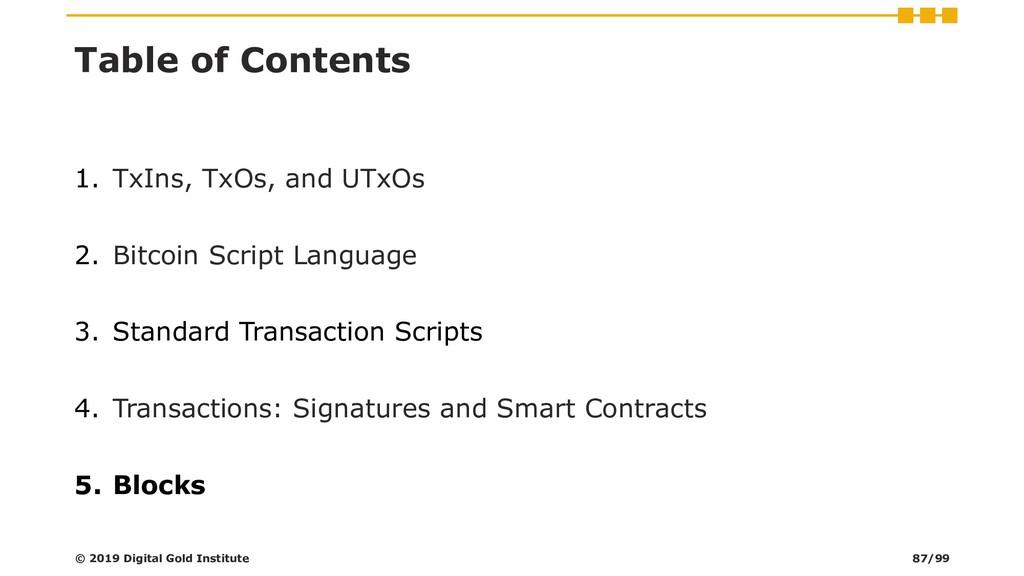 Table of Contents 1. TxIns, TxOs, and UTxOs 2. ...