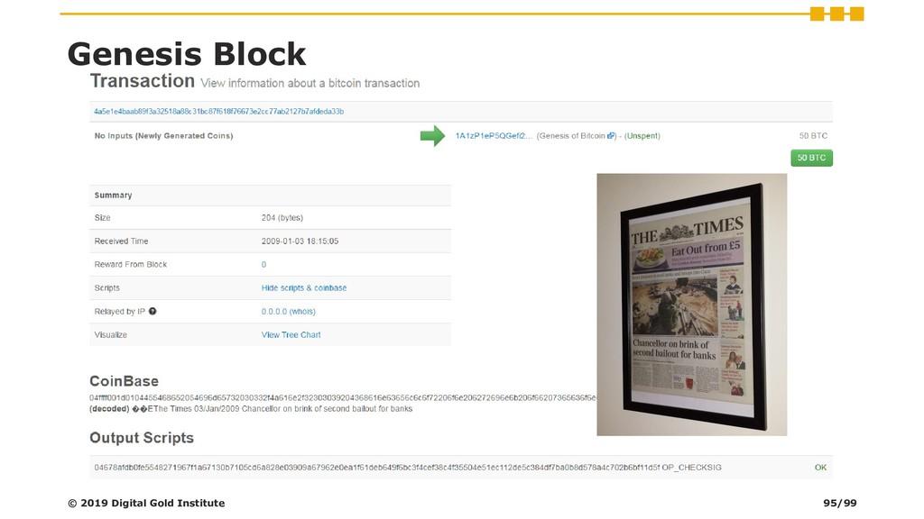 Genesis Block © 2019 Digital Gold Institute 95/...