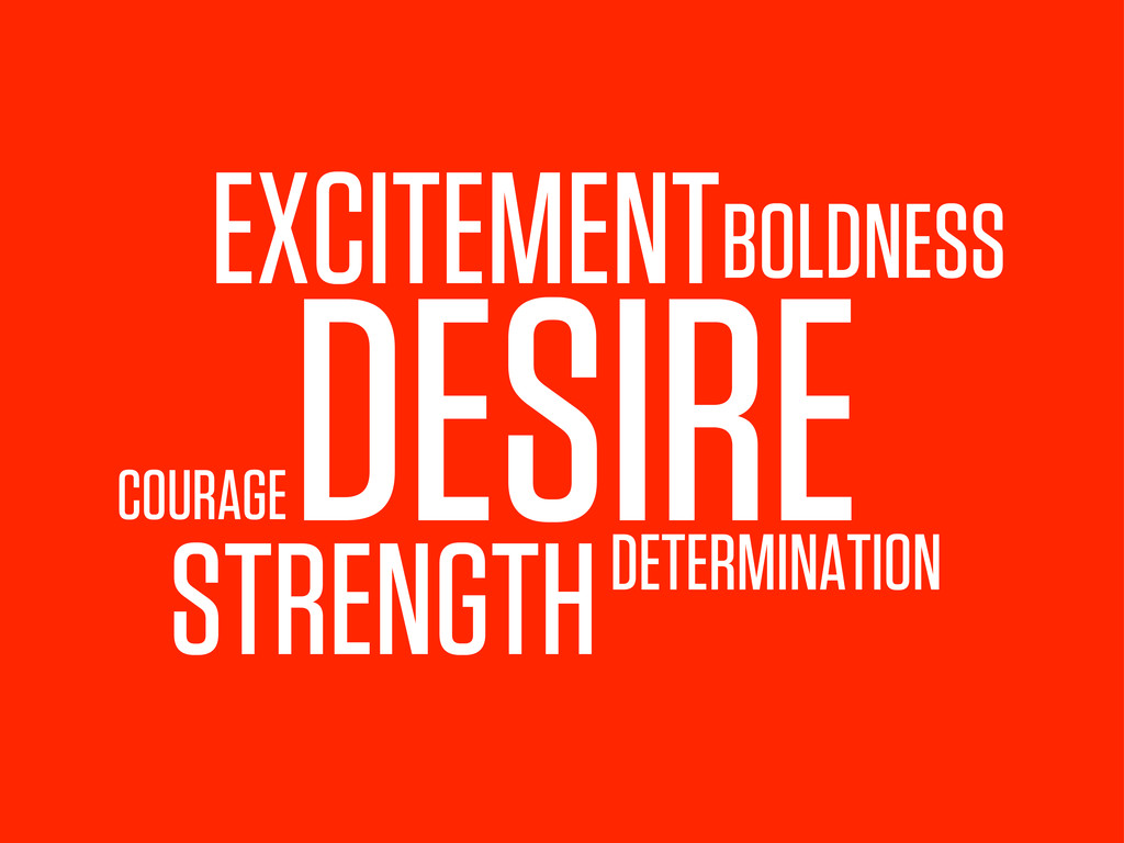 DESIRE STRENGTH BOLDNESS EXCITEMENT DETERMINATI...
