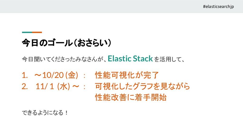 今日のゴール(おさらい) 今日聞いてくださったみなさんが、Elastic Stack を活用し...