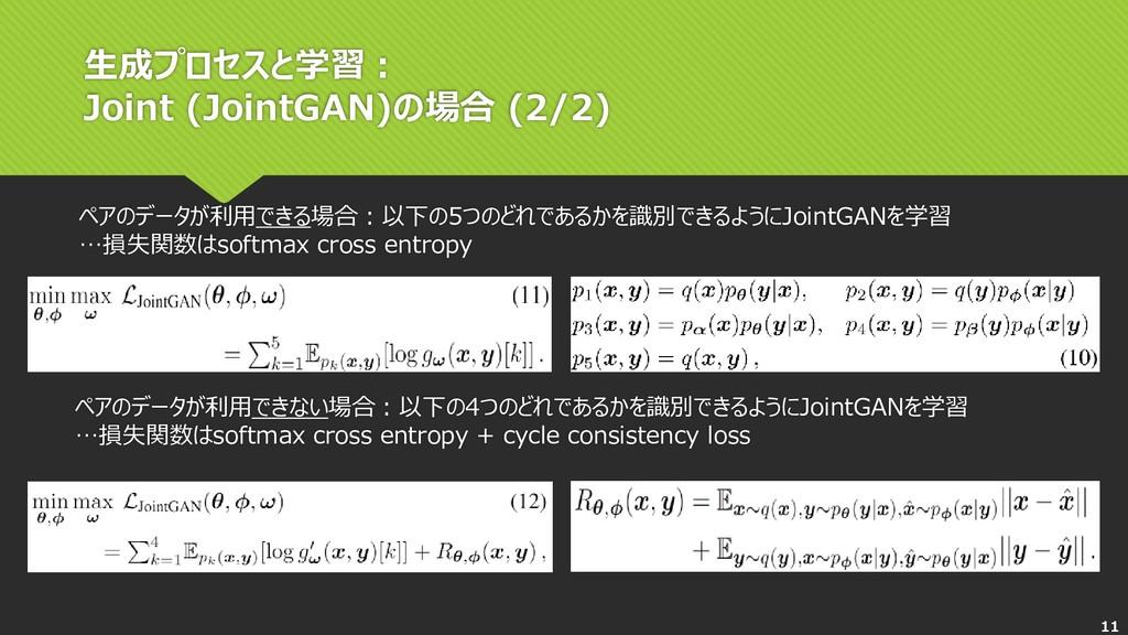 生成プロセスと学習: Joint (JointGAN)の場合 (2/2) ペアのデータが利用で...