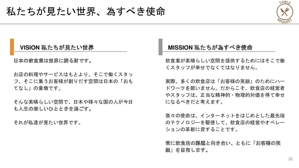 私たちが見たい世界、為すべき使命 日本の飲食業は世界に誇る財です。 お店の料理やサービスはもと...