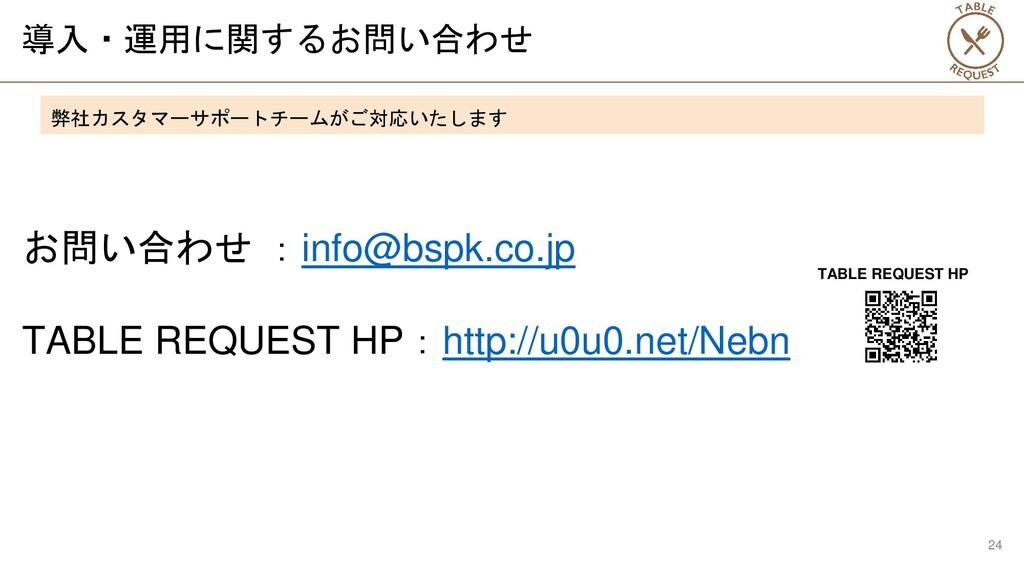 導入・運用に関するお問い合わせ お問い合わせ :info@bspk.co.jp TABLE R...