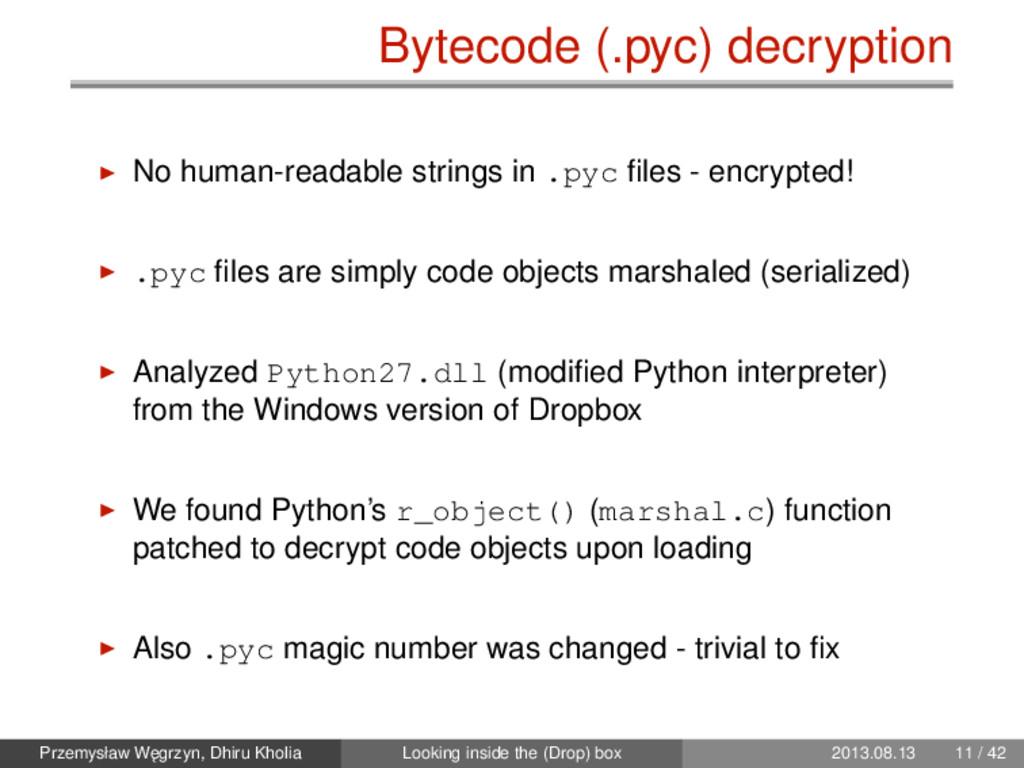 Bytecode (.pyc) decryption No human-readable st...