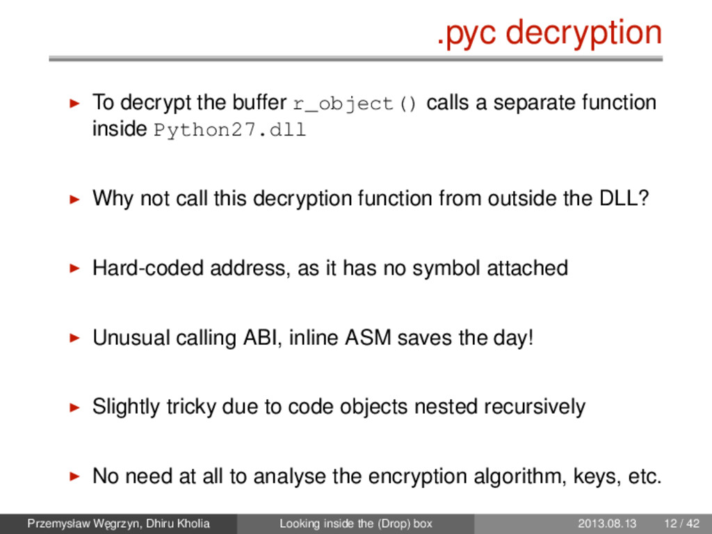 .pyc decryption To decrypt the buffer r_object(...