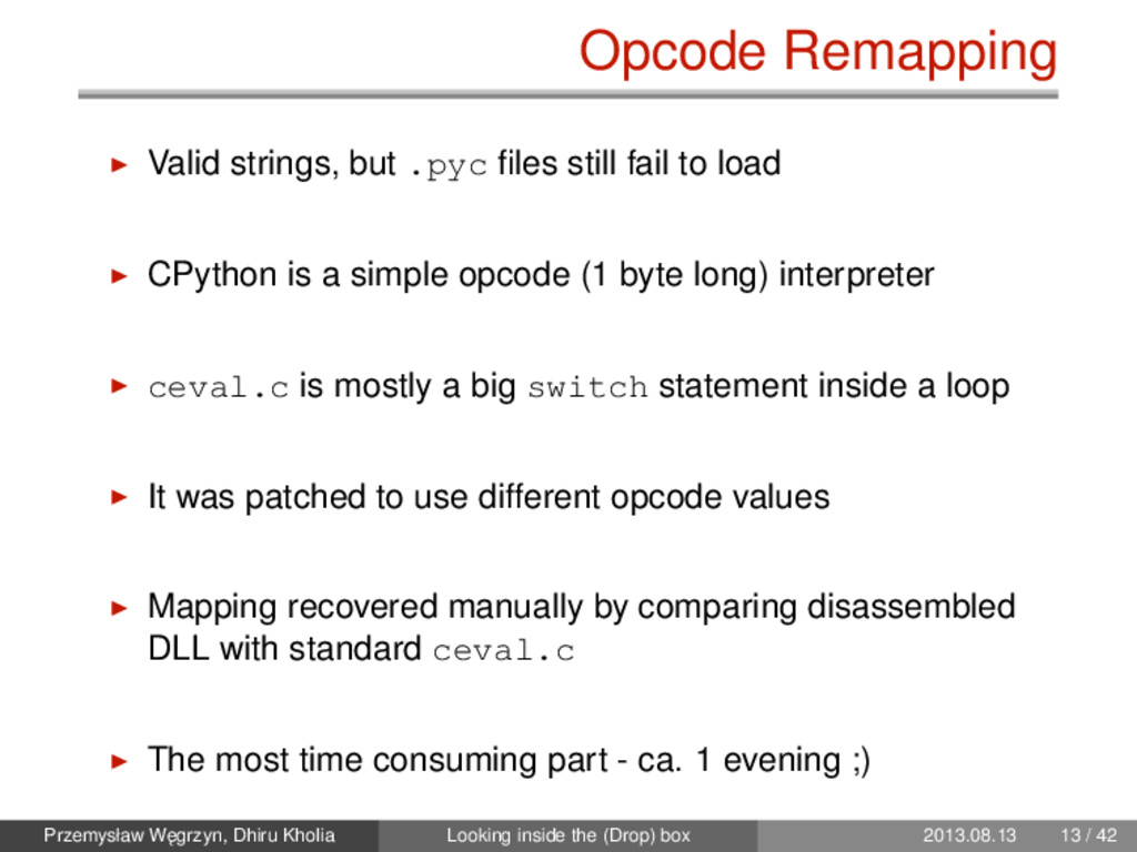 Opcode Remapping Valid strings, but .pyc files s...
