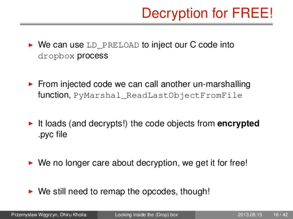 Decryption for FREE! We can use LD_PRELOAD to i...