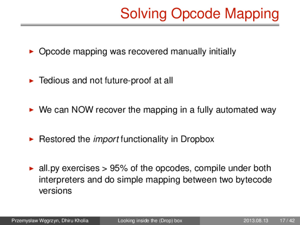 Solving Opcode Mapping Opcode mapping was recov...