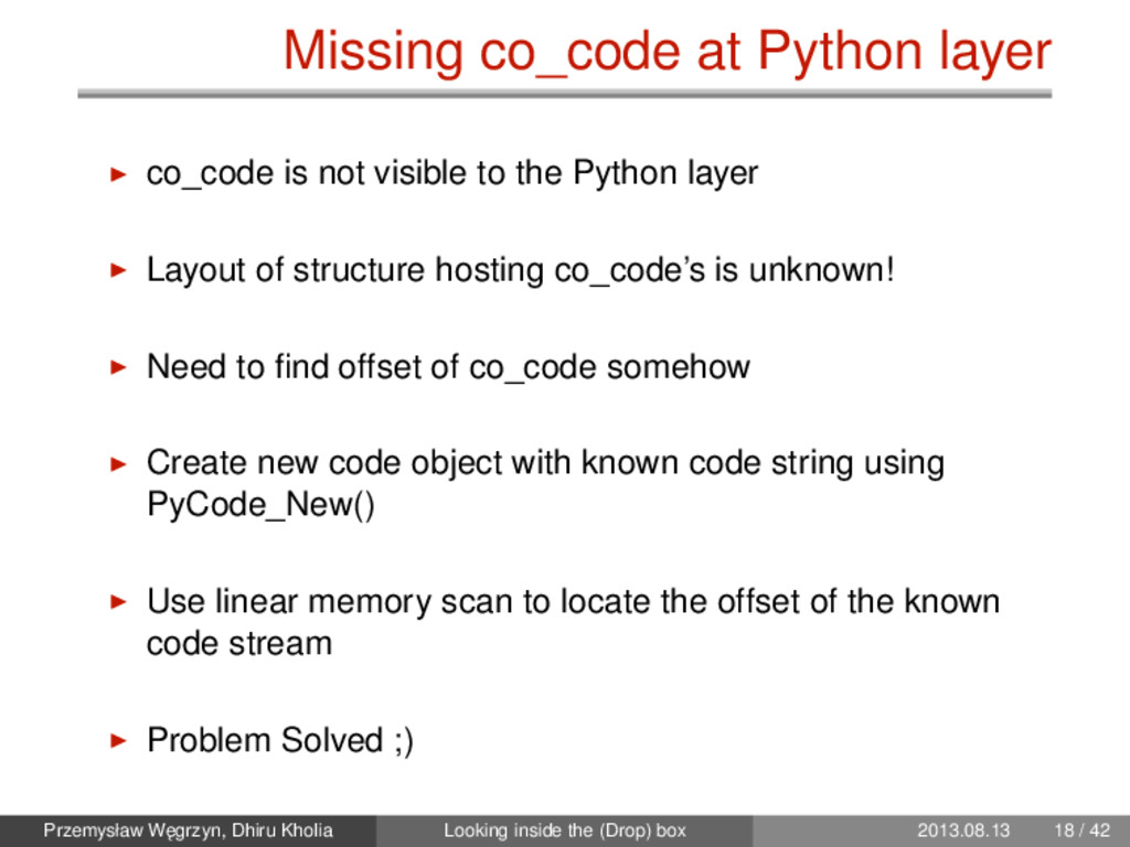 Missing co_code at Python layer co_code is not ...