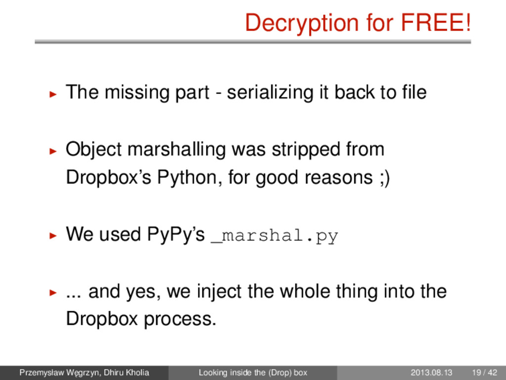 Decryption for FREE! The missing part - seriali...