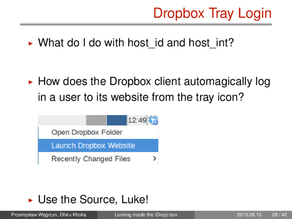 Dropbox Tray Login What do I do with host_id an...