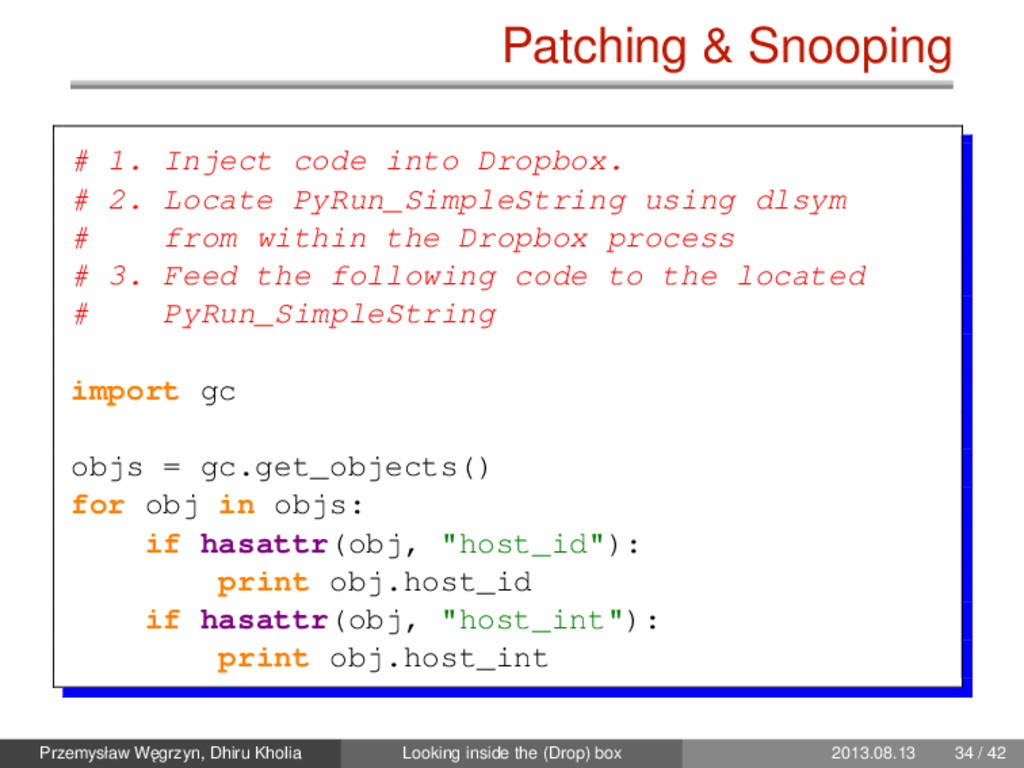 Patching & Snooping # 1. Inject code into Dropb...
