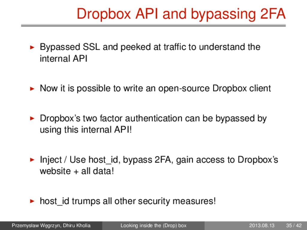 Dropbox API and bypassing 2FA Bypassed SSL and ...