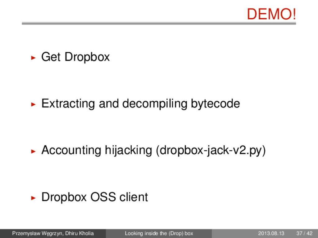 DEMO! Get Dropbox Extracting and decompiling by...