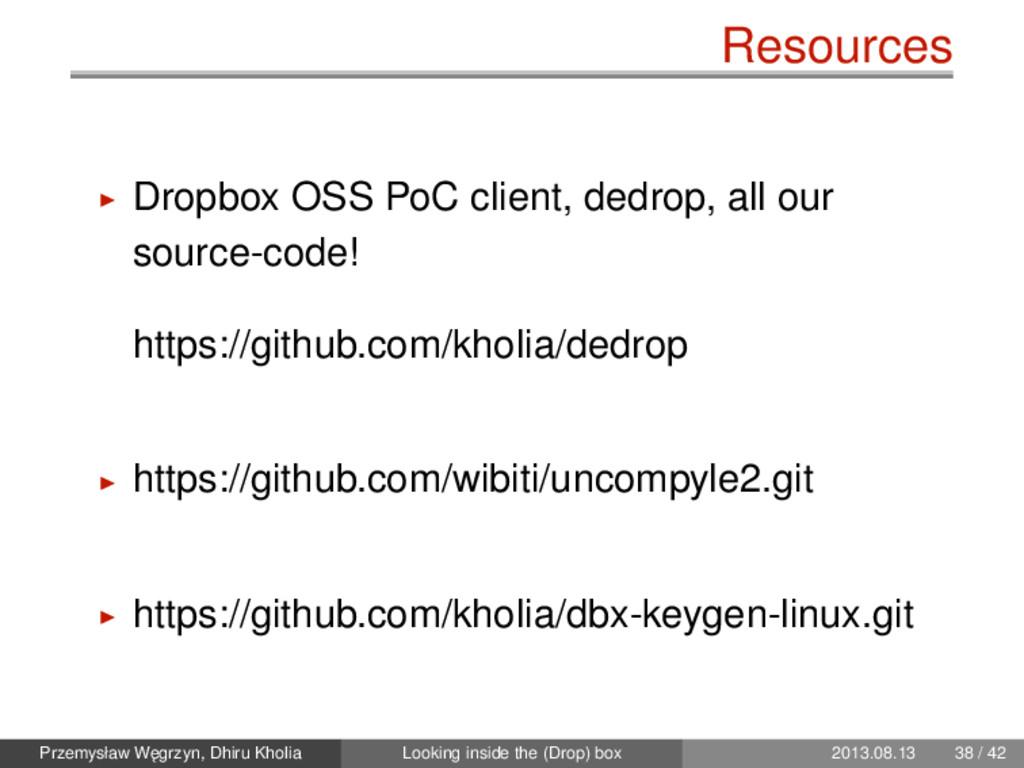Resources Dropbox OSS PoC client, dedrop, all o...