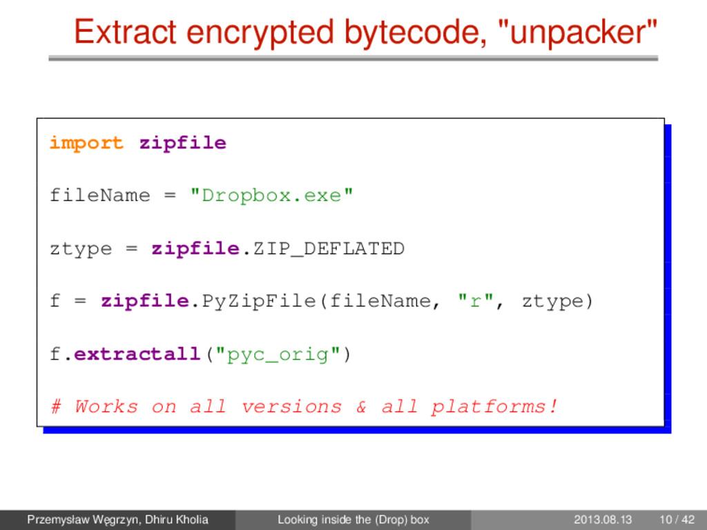 "Extract encrypted bytecode, ""unpacker"" import z..."