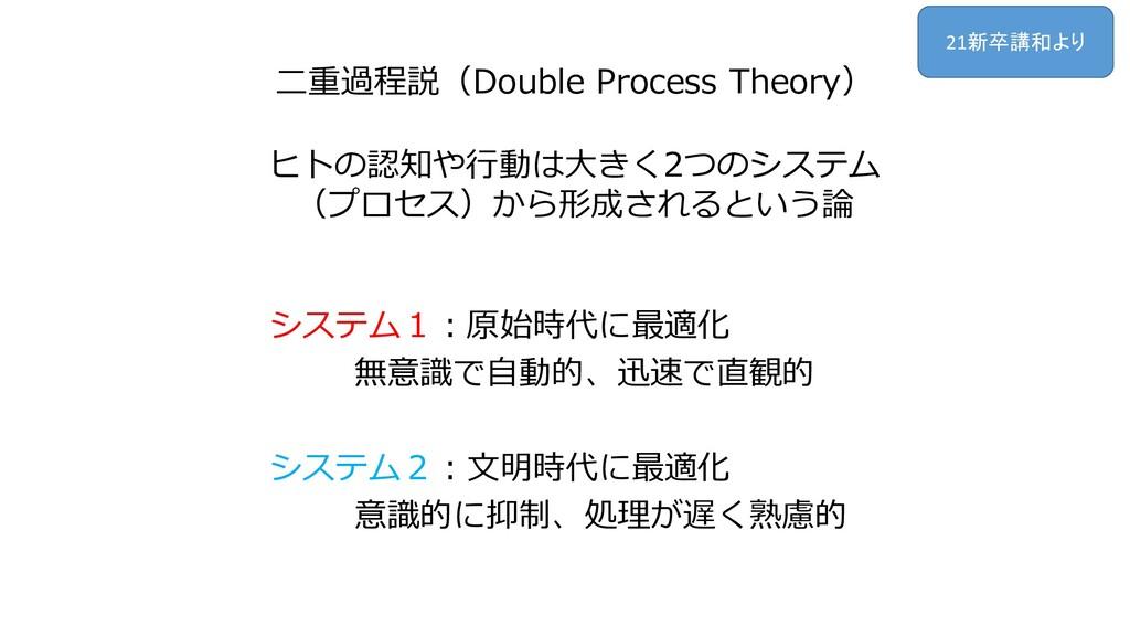 二重過程説(Double Process Theory) ヒトの認知や行動は大きく2つのシステ...
