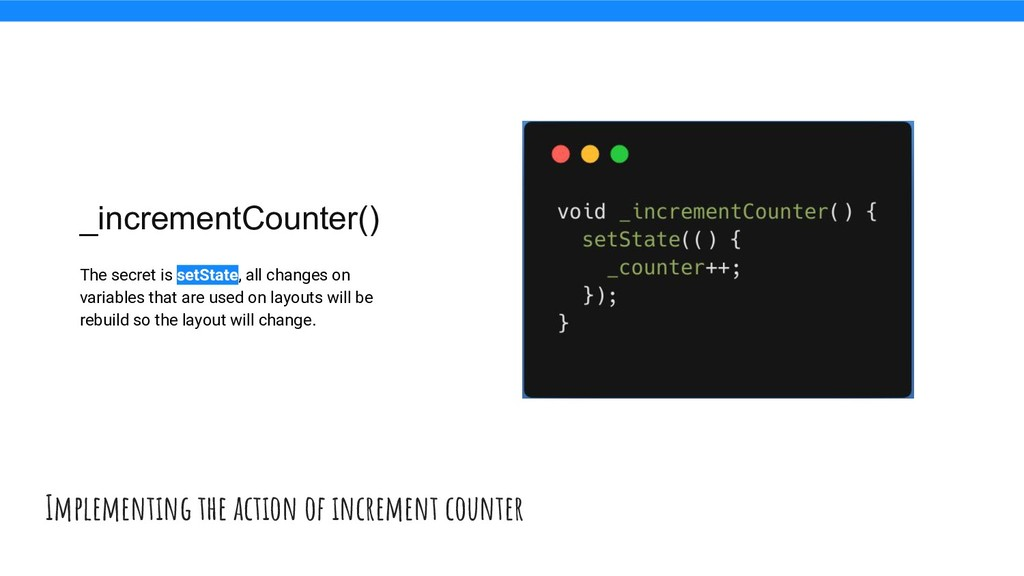 Implementing the action of increment counter _i...