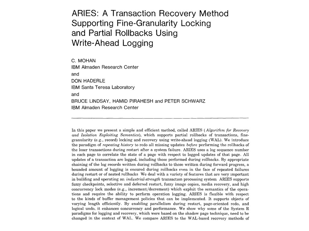 ARIES: A Transaction Recovery Method Supporting...