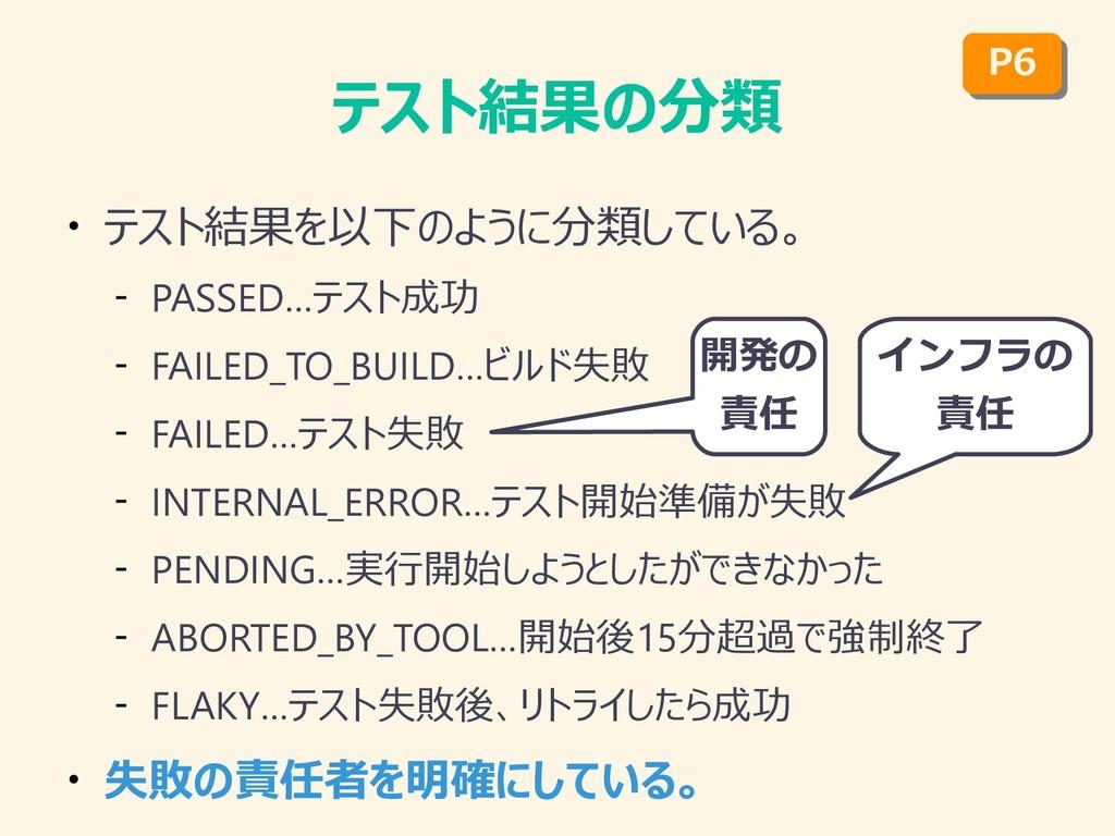 テスト結果の分類 ● テスト結果を以下のように分類している。 – PASSED…テスト成功 –...