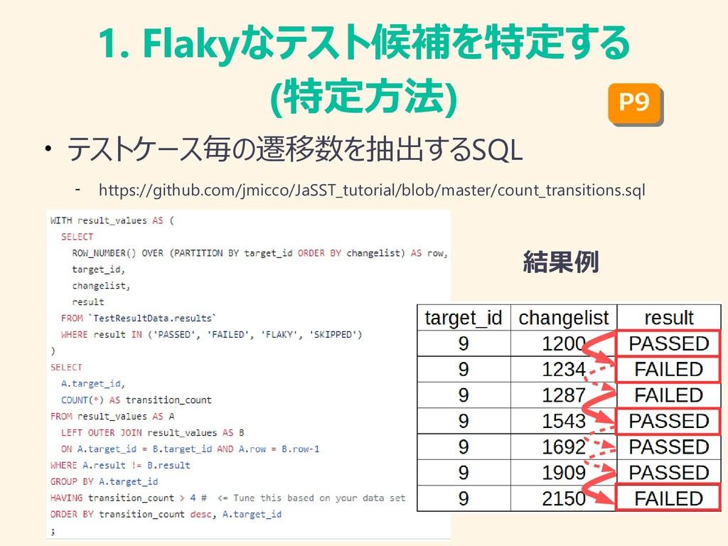 1. Flakyなテスト候補を特定する (特定方法) ● テストケース毎の遷移数を抽出するSQ...
