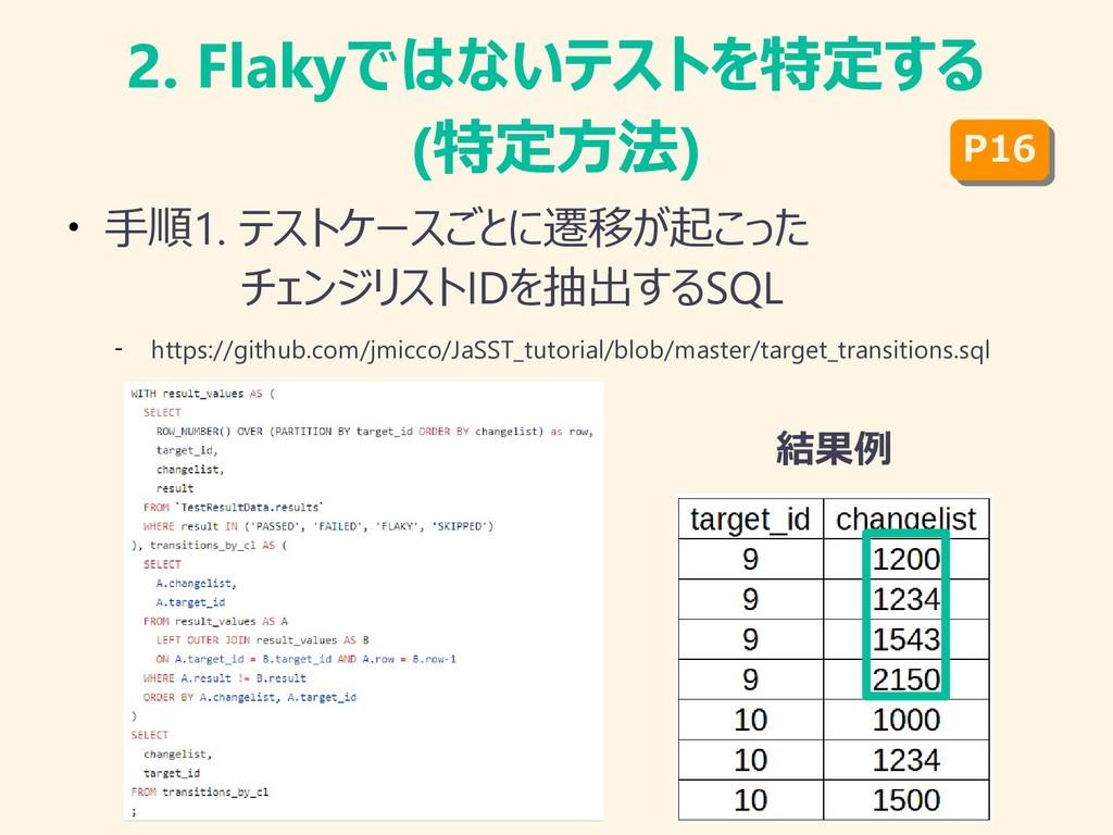 2. Flakyではないテストを特定する (特定方法) ● 手順1. テストケースごとに遷移が...