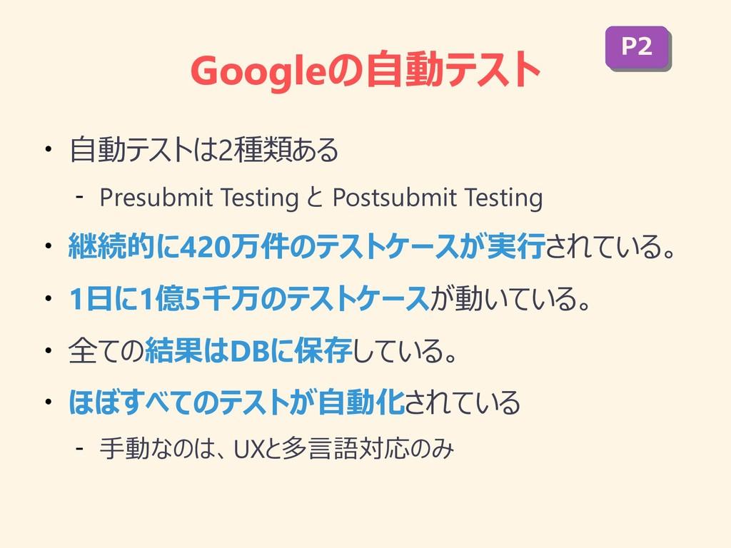 Googleの自動テスト ● 自動テストは2種類ある – Presubmit Testing ...