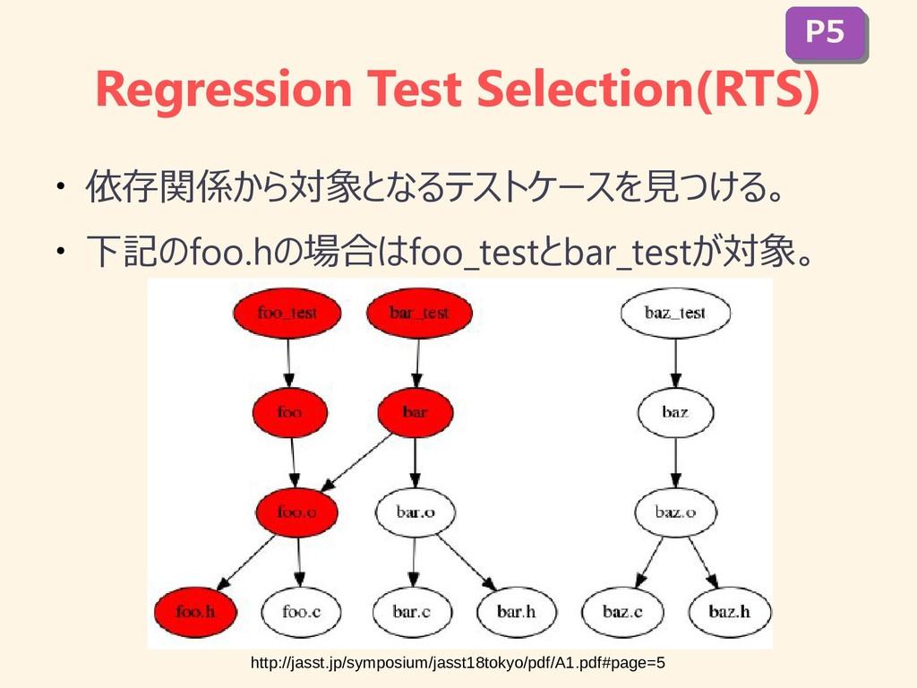 Regression Test Selection(RTS) ● 依存関係から対象となるテスト...