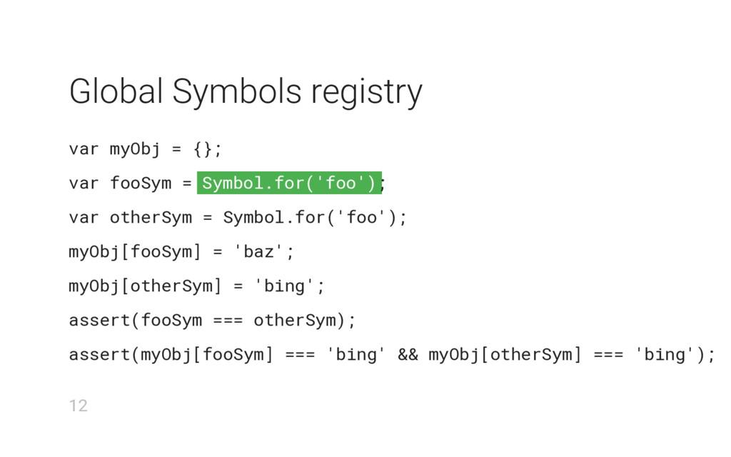 Symbol.for('foo') Global Symbols registry var m...