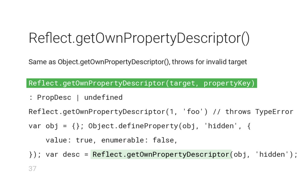 Reflect.getOwnPropertyDescriptor(target, proper...