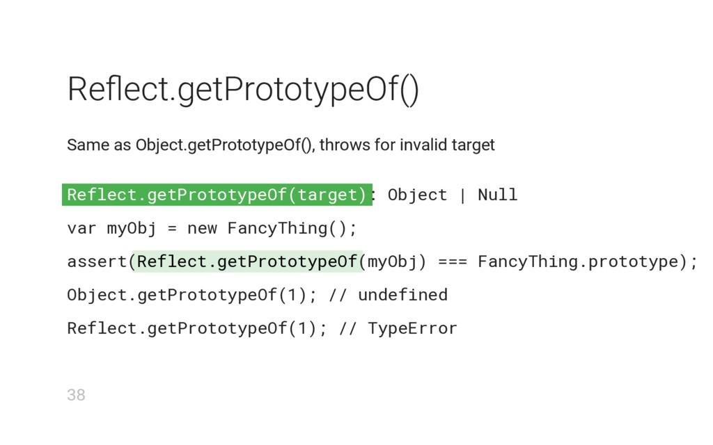 Reflect.getPrototypeOf(target) Reflect.getProto...