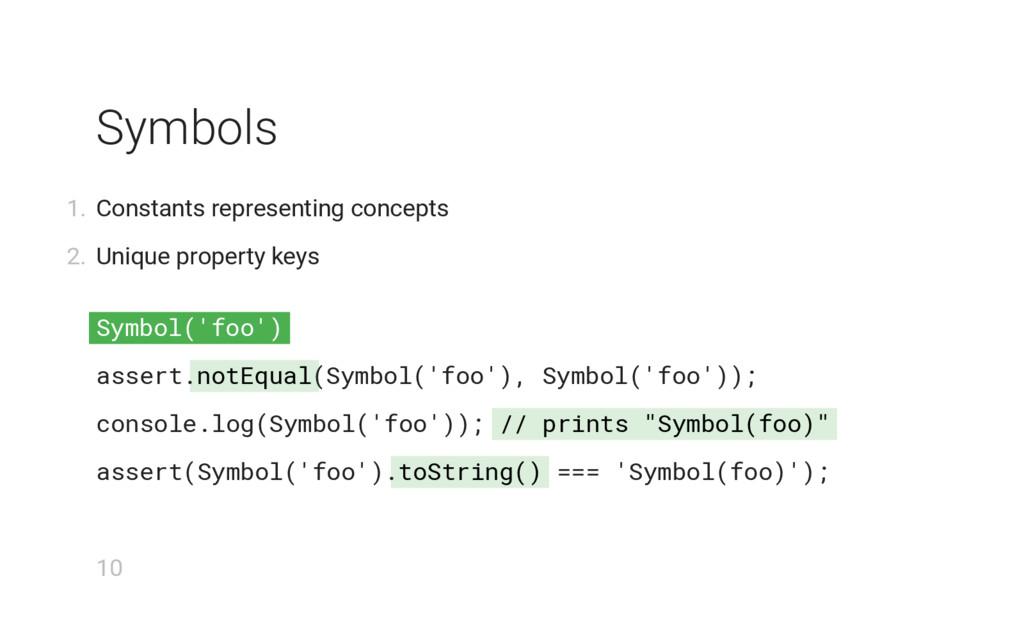 "Symbol('foo') notEqual // prints ""Symbol(foo)"" ..."