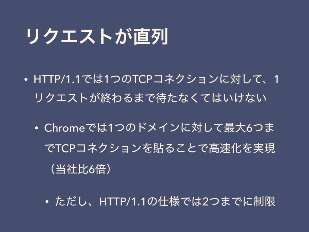 ϦΫΤετ͕ྻ • HTTP/1.1Ͱ1ͭͷTCPίωΫγϣϯʹରͯ͠ɺ1 ϦΫΤετ͕ऴ...