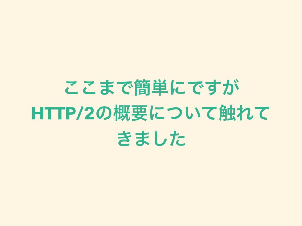 ͜͜·Ͱ؆୯ʹͰ͕͢ HTTP/2ͷ֓ཁʹ͍ͭͯ৮Εͯ ͖·ͨ͠