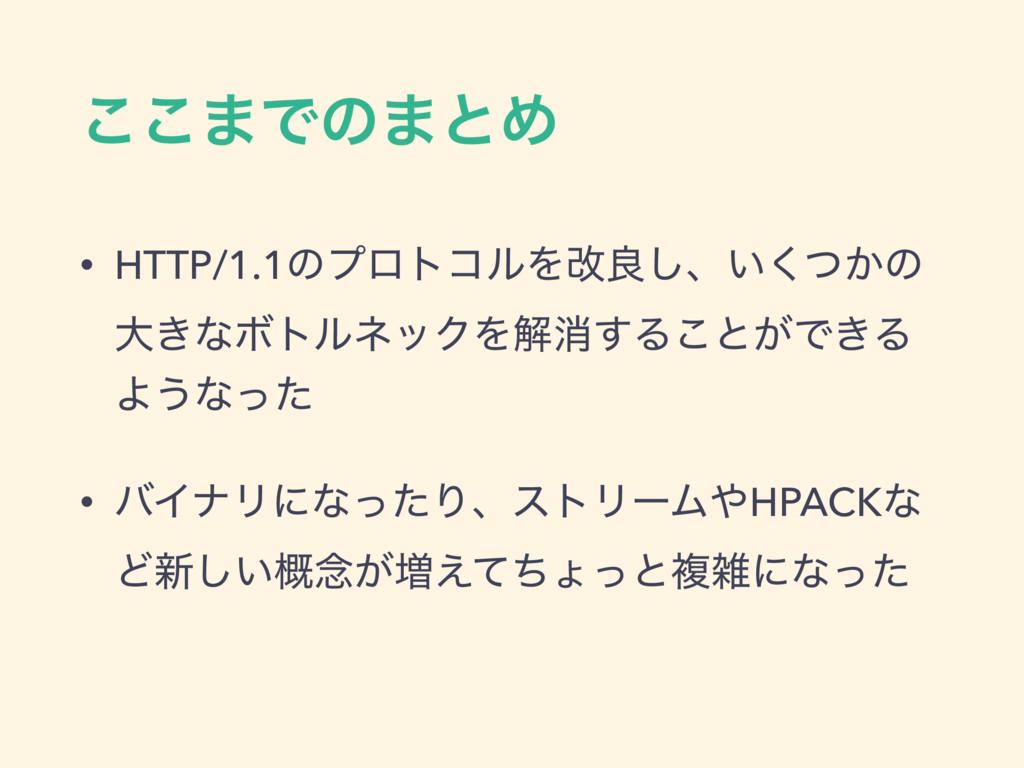 ͜͜·Ͱͷ·ͱΊ • HTTP/1.1ͷϓϩτίϧΛվྑ͠ɺ͍͔ͭ͘ͷ େ͖ͳϘτϧωοΫΛղ...