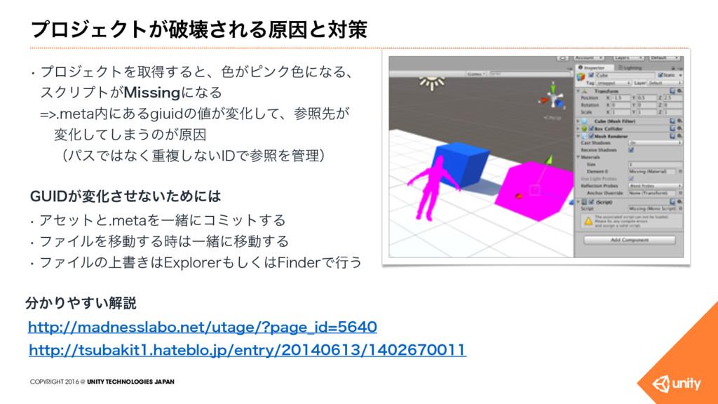 COPYRIGHT 2016 @ UNITY TECHNOLOGIES JAPAN ϓϩδΣΫ...