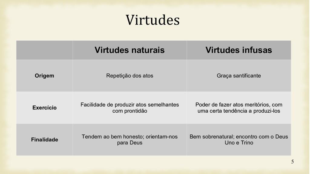 5 Virtudes Virtudes naturais Virtudes naturais ...