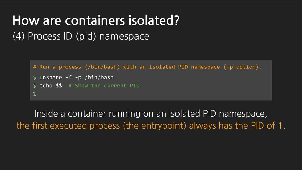 # Run a process (/bin/bash) with an isolated PI...